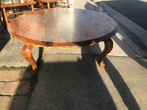 Oak round coffee table and 4 oak captain's chairs for Sale in South San Francisco, CA