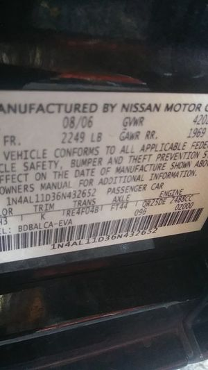 Nissan altima parts for sale for Sale in Anaheim, CA