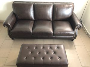 Leather sofa with ottoman for Sale in Scottsdale, AZ