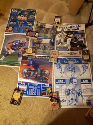 Huge vtg seahawks poster lot 70s 80s player schedules for Sale in Mukilteo, WA