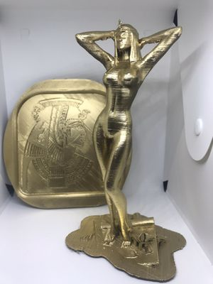 Cleopatra Of Egypt Nude Statue With Wall Crest Decoration 9inchesT Painted Gold for Sale in Itasca, IL