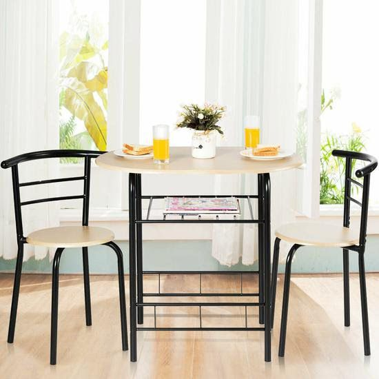 3 Pcs Home Kitchen Bistro Pub Dining Table 2 Chairs Set-Natural