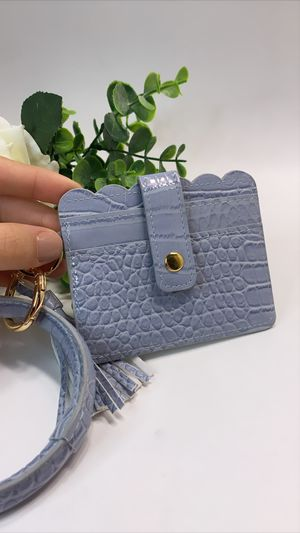 High Quality PU Leather Wristlet Keychain Wallet/Card Holder Big Circle, Blue for Sale in Tustin, CA
