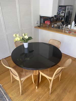 Black Granite Dining Table with Chairs for Sale in Santa Monica, CA