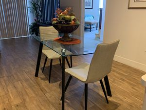 Glass Kitchen/ breakfast nook table chairs center piece and bar stools! for Sale in Scottsdale, AZ