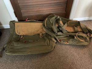Bulls/Blackhawk leather canvas duffle bag and garment bag for Sale in Aurora, IL
