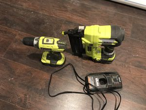 Finish nails gun and drill with 2 batteries and chargers for Sale in Baltimore, MD