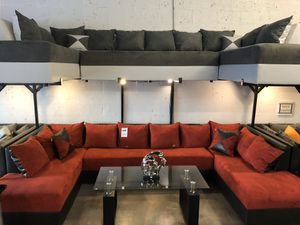 Red on Black Three Piece Sectional Sofa 🏷 for Sale in Miami Springs, FL