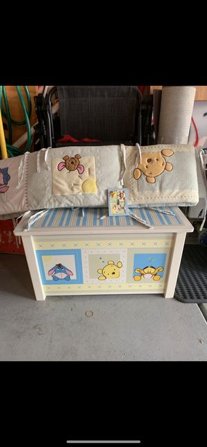 Winnie the Pooh Baby/kids toy chest and crib bumper for Sale in Plainfield, IL