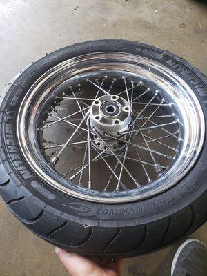 Harley chopper 40 spoke rear wheel with tire for Sale in Ontario, CA