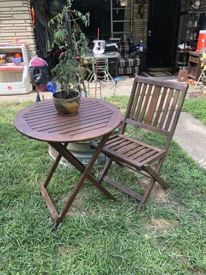 Teakwood fold up table and fold up chair for Sale in Columbus, OH