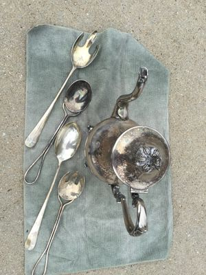 Silver pitcher and four silver spoons for Sale in Taylors, SC
