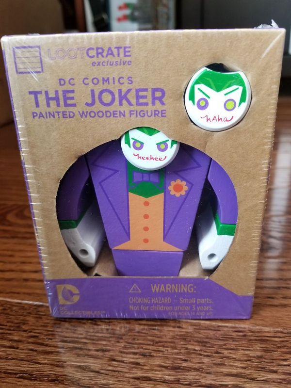 Brand new loot crate exclusive The Joker wooden figure