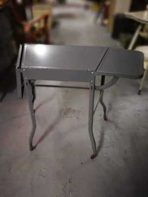 Post-war vintage metal typewriter table wood wheels ~ excellent condition for Sale in Cleveland, OH