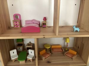 Wooden doll house and figures for Sale in Antelope, CA