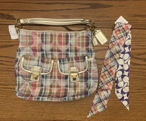 Coach Daisy Poppy Madras Plaid Patchwork Hobo Purse Shoulder Bag Multicolor & Silk Pony - New for Sale in Thornton, CO