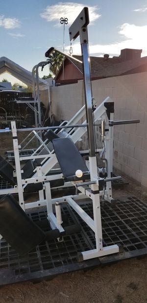 Keys Strength Trainer 2300 bench, lat, curl, 7' bar for Sale in Phoenix, AZ