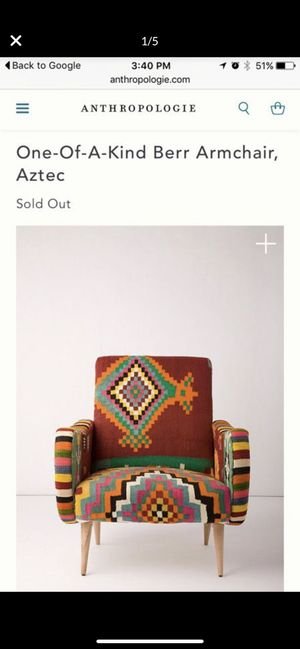 Anthropologie One of a kind Berr armchair, vintage Aztec kilim rug fabric for Sale in Los Angeles, CA
