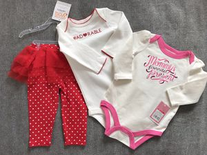 Valentines Day Gift Baby Girls 3 pc set Size 3-6 months for Sale in Alexandria, VA