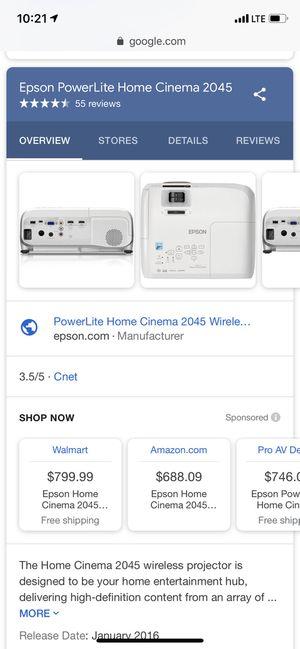 Epson powerlite home cinema 2045 for Sale in Los Angeles, CA
