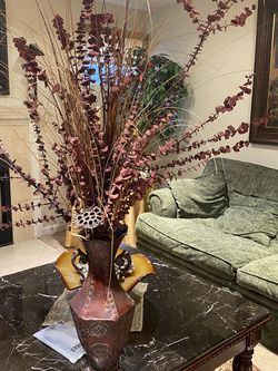 Metal Vase With Dry Flowers for Sale in Fairfax,  VA