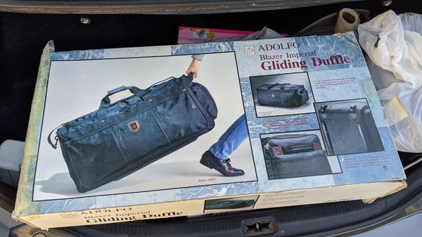 Adolfo Vintage VTG Black Duffel Duffle Bag Rolling/ Gliding Luggage