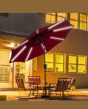 New-9 FT Patio Solar Umbrella LED Light Tilt Deck Waterproof Garden Market Beach Red for Sale in North Miami, FL