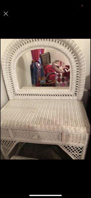 White Wicker Vanity for Sale in Winter Haven, FL