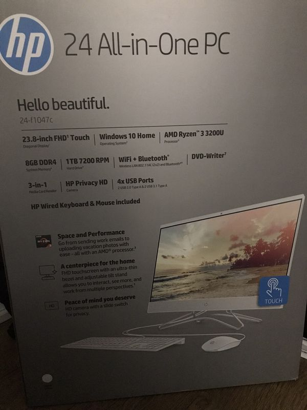 HP 24 All in one PC. FACTORY SEALED. NEVER Touch screen, Beautiful computer! White.