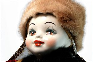 RARE Vintage Porcelain Russian Doll - White Porcelain Collectible Doll -MINK Fur Hat - RED Satin Dress - Blonde Yarn Hair- Folk Toys for Sale in Los Angeles, CA