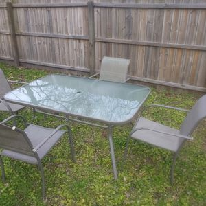 Outdoor Furniture Set, Glass Table + 4 Chairs for Sale in Chesapeake, VA