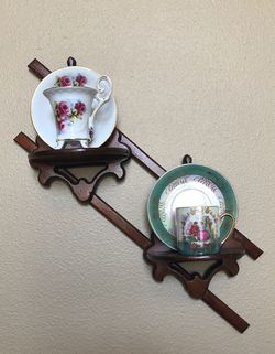Two miniature tea cups and wall hanging holder for Sale in Fresno,  CA