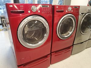 LG front load washer and electric dryer set with pedestal in good condition with 90 day's warranty for Sale in Mount Rainier, MD
