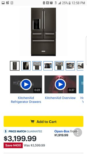 KitchenAid - 25.8 Cu. Ft. 5-Door French Door Refrigerator - Black stainless steel for Sale in Garland, TX