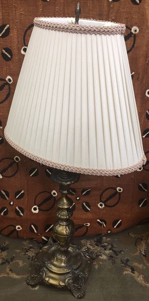 Pair of Vintage Table Lamps with White Pleated Shades for Sale in Philadelphia, PA