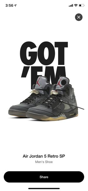 Jordan 5 off white size 9.5 for Sale in Los Angeles, CA