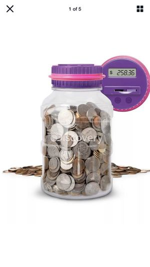 Discovery Coin Counting Money Jar, Clear Bank Digital LCD Display Purple Ages 3+ for Sale in Newfoundland, NJ