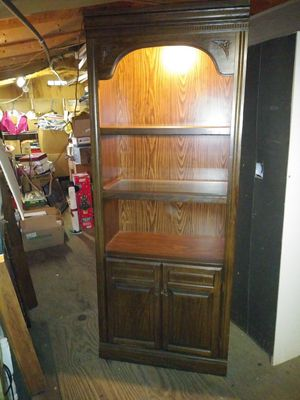 Illuminated wooden book shelf for Sale in Shoemakersville, PA