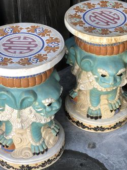 Pair Of Chinese Import Mid Century Ceramic Stools Foo Dog Guardians for Sale in Newport Beach,  CA