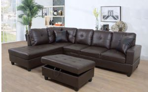 Sectional Couch with ottoman. Espresso. New for Sale in Alameda, CA