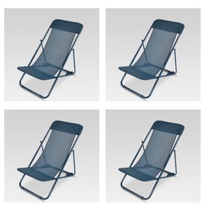 Beach chairs 4 Folding chair navy color new still in box $25 each for Sale in La Mesa, CA