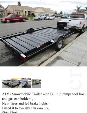 Atv trailer with ramps pink slip in hand for Sale in Sanger, CA