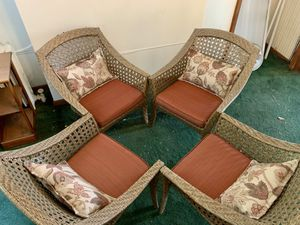 L🦋🦋K all weather rattan wicker patio chairs + cushions! for Sale in Pittsburgh, PA