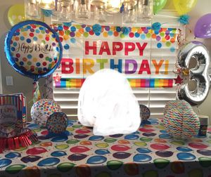 Birthday party decorations & more. Take all for $35. Table cover and mylar balloons no longer available. Only rubber balloons left. for Sale in Chula Vista, CA