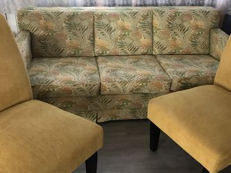 Queen size sleeper sofa couch bed and two chairs for Sale in Clearwater,  FL