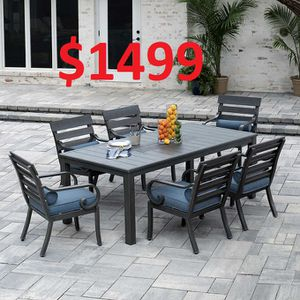 ♫♫♫ porch patio outdoor furniture dining table set six chair sunbrella cushions pillow aluminum for Sale in Houston, TX
