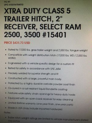 Curt Tow Hitch class5 fits Ram2500 for Sale in Brentwood, CA