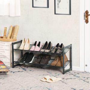 2-Tier Stackable Metal Shoe Rack Flat & Slant Adjustable Shoe Organizer Shelf for Closet Bedroom & Entryway Bronze for Sale in West Covina, CA