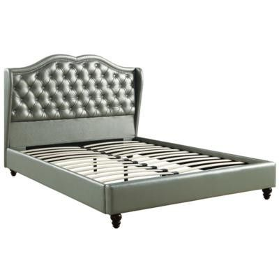 Brand New Queen Size Silver Leather Platform Bed Frame