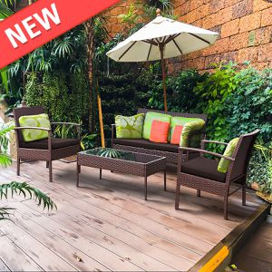 4 PCS Patio Rattan Wicker Furniture Set Brown Loveseat Sofa Cushioned Garden Yard for Sale in Philadelphia, PA